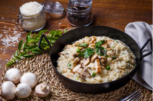 risoto simples com cogumelos e ervas