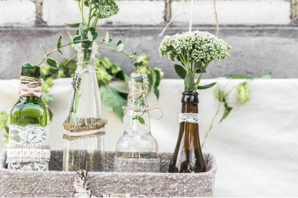 garrafas de vidro potes reciclados