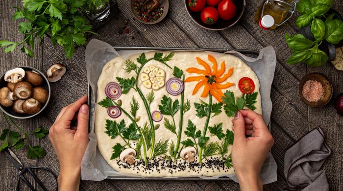 Focaccia florida como jardim pão como fazer